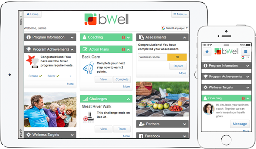 ipad and iphone version of the ConXus Wellness & Benefits Hub