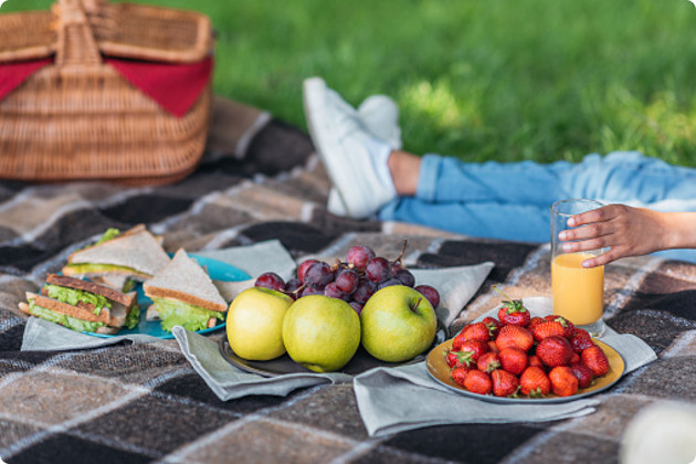 Picnic with fruits