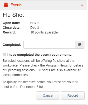 Flu Shot Event Widget