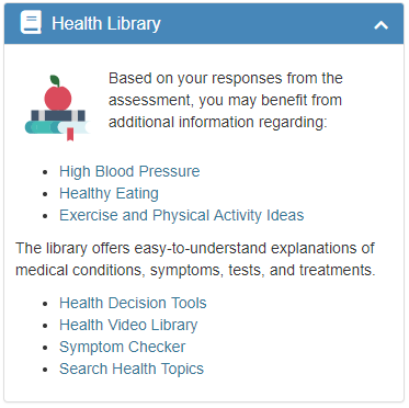 Health Library widget screenshot