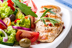 Healthy meal with grilled chicken