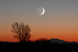Nightfall with a partial moon