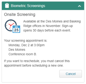 Onsite Screening Scheduler Widget Screenshot