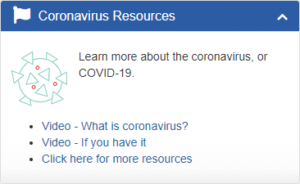 Screenshot of the Coronavirus Resources Widget in the PDHI Portal