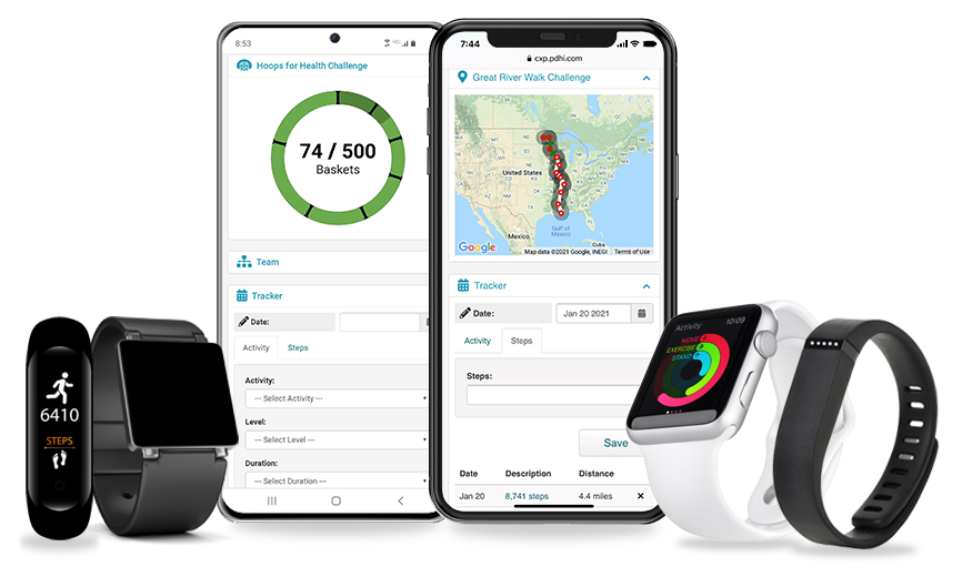 Wellness challenges displayed in an iPhone and Samsung Galaxy shown with fitness devices